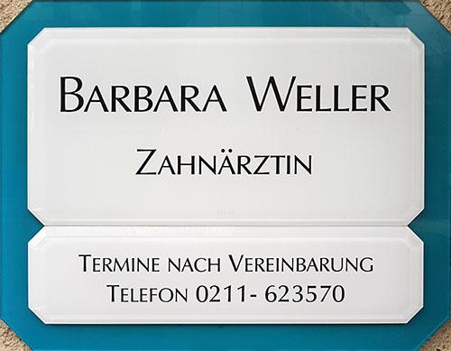 Praxisschild - Zahnarztpraxis Barbara Weller-Fatemieh in 40470 Düsseldorf